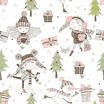 Modèle sans couture sur le thème de l'hiver de noël avec de jolies filles dans un style doodle.