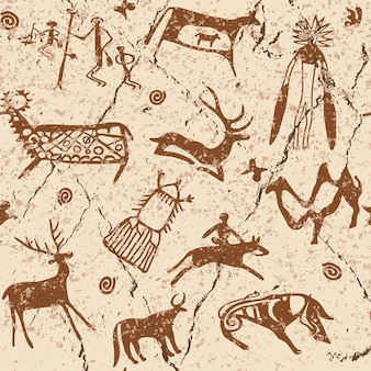 Modèle sans couture sur le thème des peintures rupestres d'asie centrale, dessin vectoriel