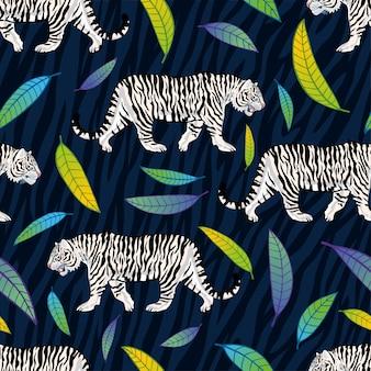 Modèle sans couture. tigre blanc marche rugissement chat sauvage fond de feuilles roses. textile de mode, tissu. illustration d'art de caractère rayures tigre