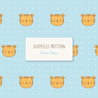Modèle sans couture de tigres kawaii mignon