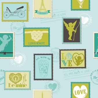 Modèle sans couture de timbres saint-valentin amour