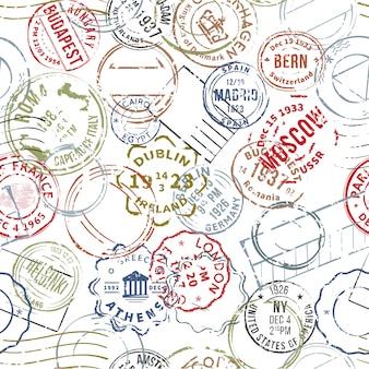 Modèle sans couture de timbres style rétro