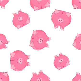 Modèle sans couture de tirelire cochon rose. symbole du nouvel an 2019 sur le calendrier lunaire chinois.