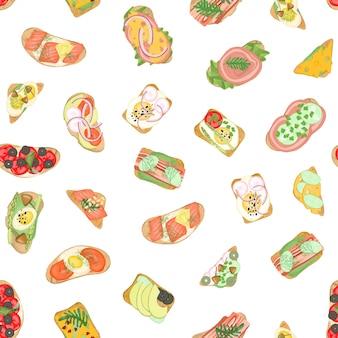 Modèle sans couture de toasts de viande avec différents ingrédients végétaux