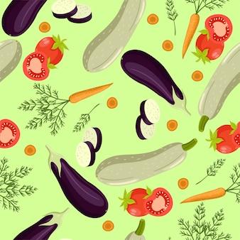 Modèle sans couture avec tomates, carottes, courgettes, aubergines.
