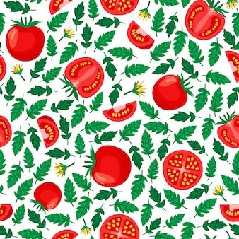 Modèle sans couture de tomates, fond blanc avec des tomates et des feuilles entières et tranchées