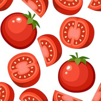 Modèle sans couture de tomates fraîches et tranche de tomates illustration plate