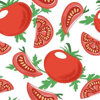 Modèle sans couture avec tomates mûres entières et coupées rouges