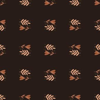 Modèle sans couture de tons automne avec des silhouettes botaniques simples