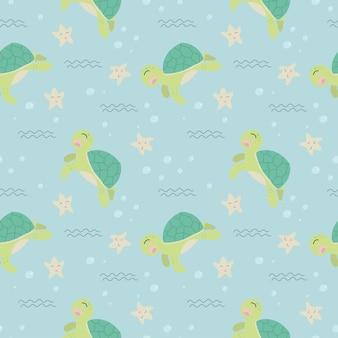 Modèle sans couture de tortue mignonne