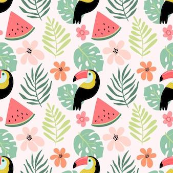 Modèle sans couture avec toucan et fruits d'été