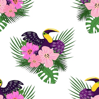Modèle sans couture de toucan paradis, style cartoon