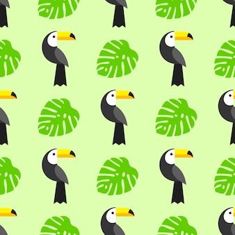 Modèle sans couture avec toucan