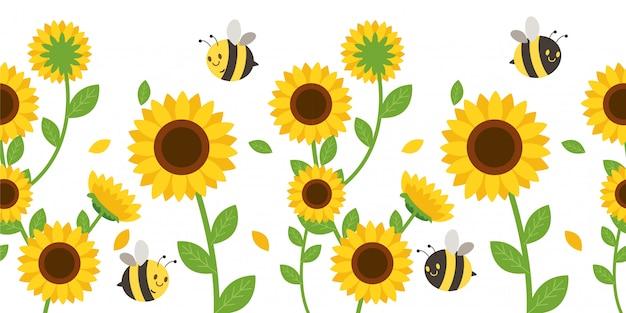 Le modèle sans couture de tournesol et feuille avec abeille.