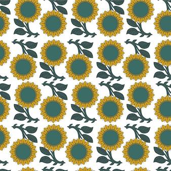 Modèle sans couture avec des tournesols sur fond blanc vector illustration