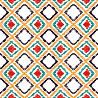 Modèle sans couture traditionnelle de losange rouge. motif aquarelle batik aztèque rouge. batik repeat print. motif tribal aquarelle avec teinture mexicaine