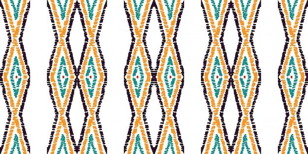 Modèle Sans Couture Traditionnelle De Losange Rouge. Motif Aquarelle Batik Aztèque Rouge. Motif Tribal Aquarelle Avec Teinture Mexicaine Tie Dye. Vecteur Premium