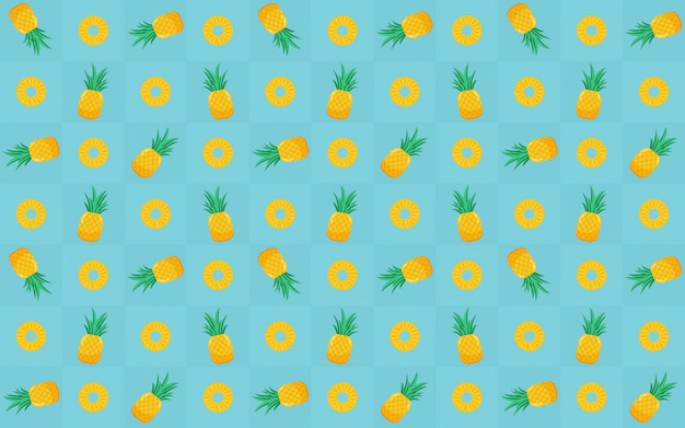 Modèle sans couture de tranche d'ananas jaune au design de l'icône plate sur bleu
