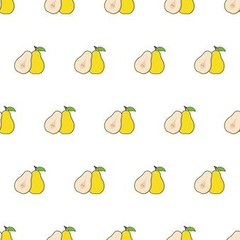 Modèle sans couture de tranche de poire sur un fond blanc. illustration vectorielle de thème poire