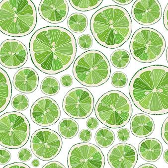 Modèle sans couture avec des tranches de citron vert