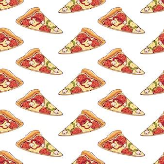 Modèle sans couture avec des tranches de délicieuses pizzas