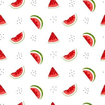 Modèle sans couture avec des tranches de melon d'eau et des graines.