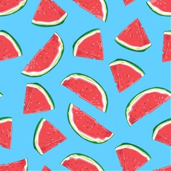 Modèle sans couture de tranches de melon d'eau. illustration vectorielle