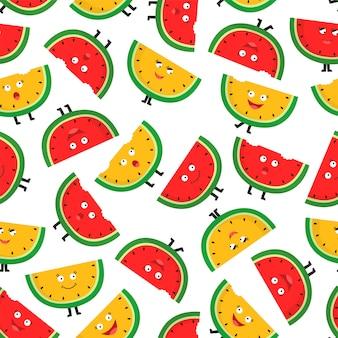 Modèle sans couture avec des tranches de melon d'eau mûr. personnage mignon
