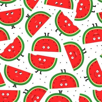 Modèle sans couture avec des tranches de melon d'eau.