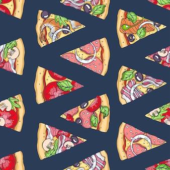 Modèle sans couture de tranches de pizza dessinées à la main. illustration vectorielle