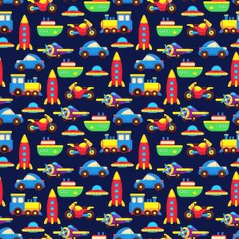 Modèle sans couture de transport de jouet coloré