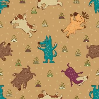 Modèle sans couture tribal doodle mignon avec des animaux.