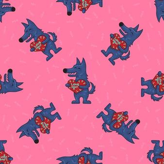 Modèle sans couture tribal doodle mignon avec les loups.