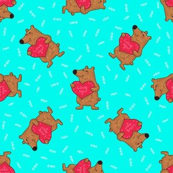 Modèle sans couture tribal doodle mignon avec des ours.