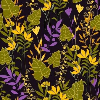 Modèle sans couture tropical abstrait avec des plantes à feuilles vertes