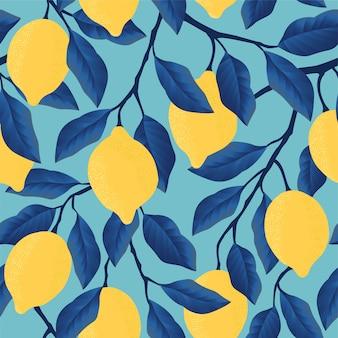 Modèle sans couture tropical avec des citrons jaunes. fruit répété.