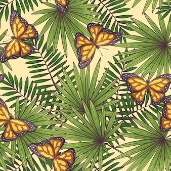 Modèle sans couture tropical dessiné main
