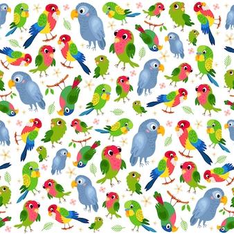Modèle sans couture tropical enfantin avec un perroquet