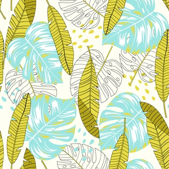 Modèle sans couture tropical l'été avec les feuilles et les plantes jaunes et bleues