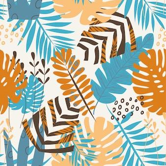 Modèle sans couture tropical de l'été de plantes colorées