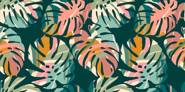 Modèle sans couture tropical avec des feuilles abstraites.