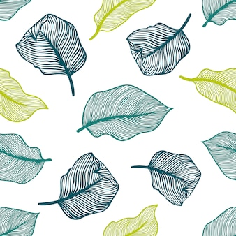 Modèle sans couture tropical avec des feuilles de palmier exotiques.