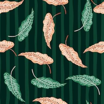 Modèle sans couture tropical avec des feuilles vintage sur fond rayé.