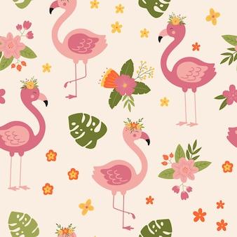 Modèle sans couture tropical avec flamant rose floral fond de vecteur de dessin animé avec flamant rose