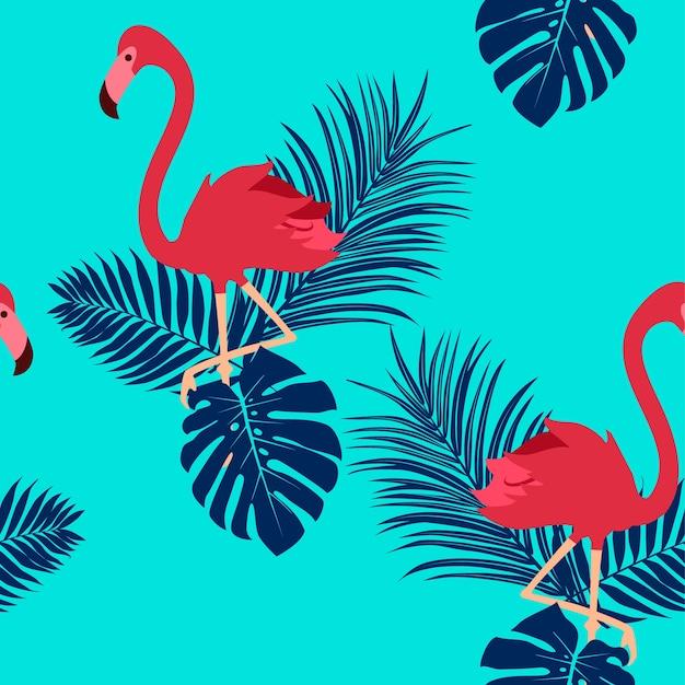 Modèle sans couture tropical avec flamant rose.