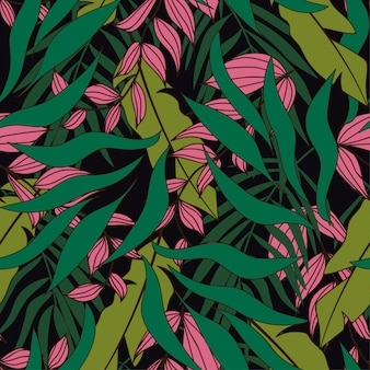 Modèle sans couture tropical avec des plantes roses et vertes sur fond sombre