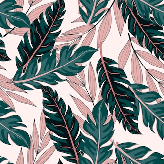 Modèle sans couture tropical avec des plantes vertes et roses
