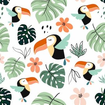 Modèle sans couture tropical avec toucan