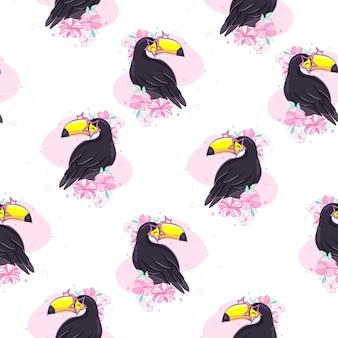 Modèle sans couture tropical avec toucans