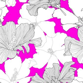 Modèle sans couture tropical de vecteur plantes exotiques abstraites